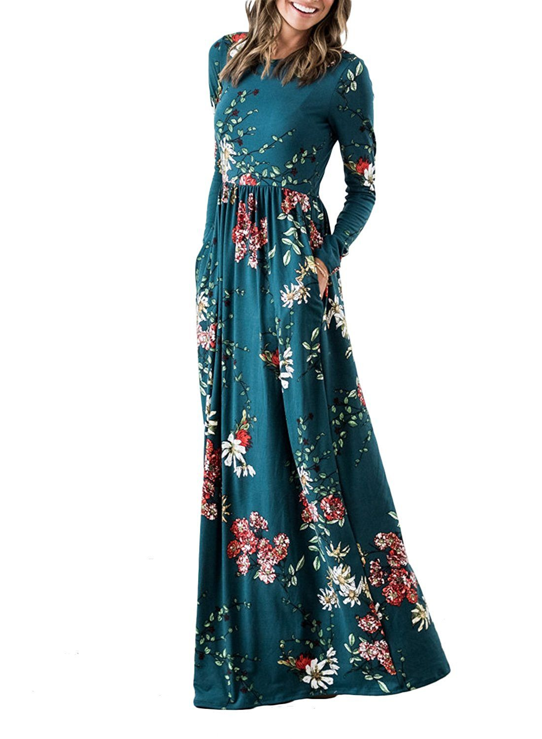 e6dc32aa8f4 ZESICA Women s Floral Print Long Sleeve Pockets Empire Waist Pleated Long  Maxi Dress at Amazon Women s Clothing store