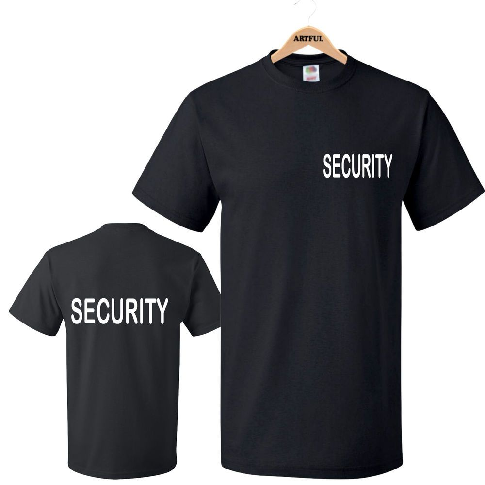 Black t shirt front and back - Security T Shirts Printed Front Back Black White Sia Doormans