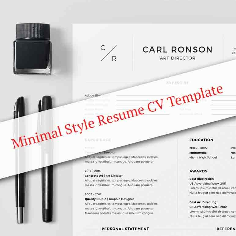 Minimal Style Resume CV Template Master Bundles Deals - art director resumes