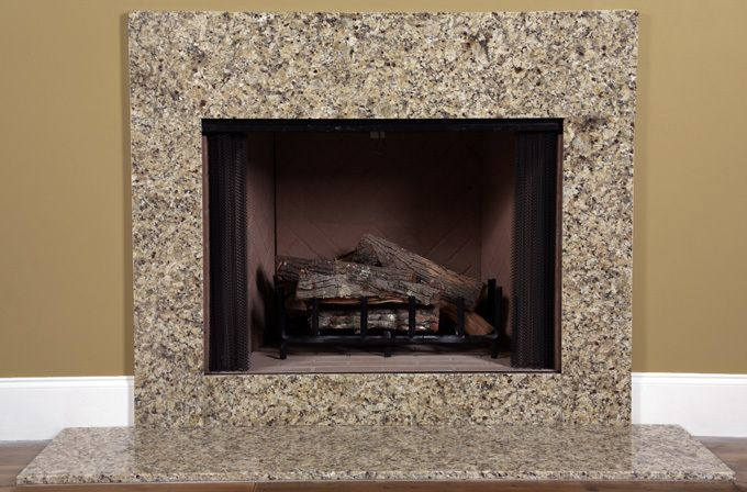 Venetian Gold Granite Fireplace Surround Facing Kit Has Earthtones Purchase This Very Economical Alternataive To Tiles Today