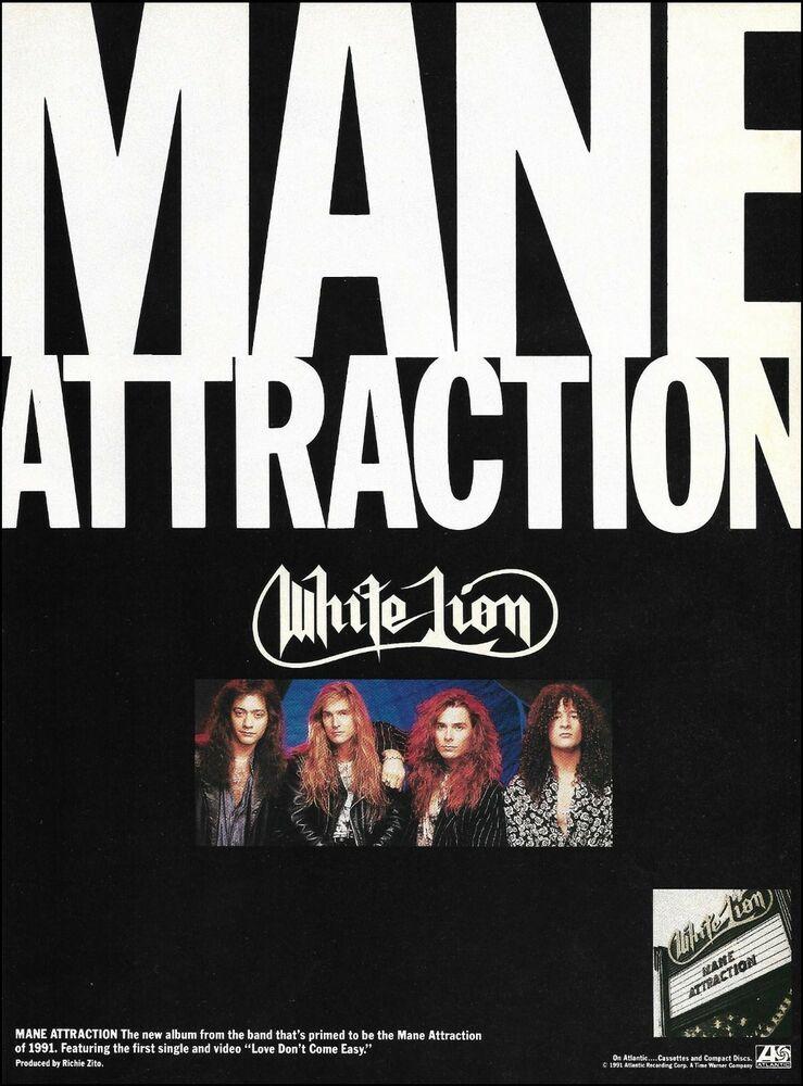 White Lion Band 1991 Mane Attraction Ad 8 X 11 Advertisement Print Vito Bratta In 2020 Mane Attraction White Lion Mane