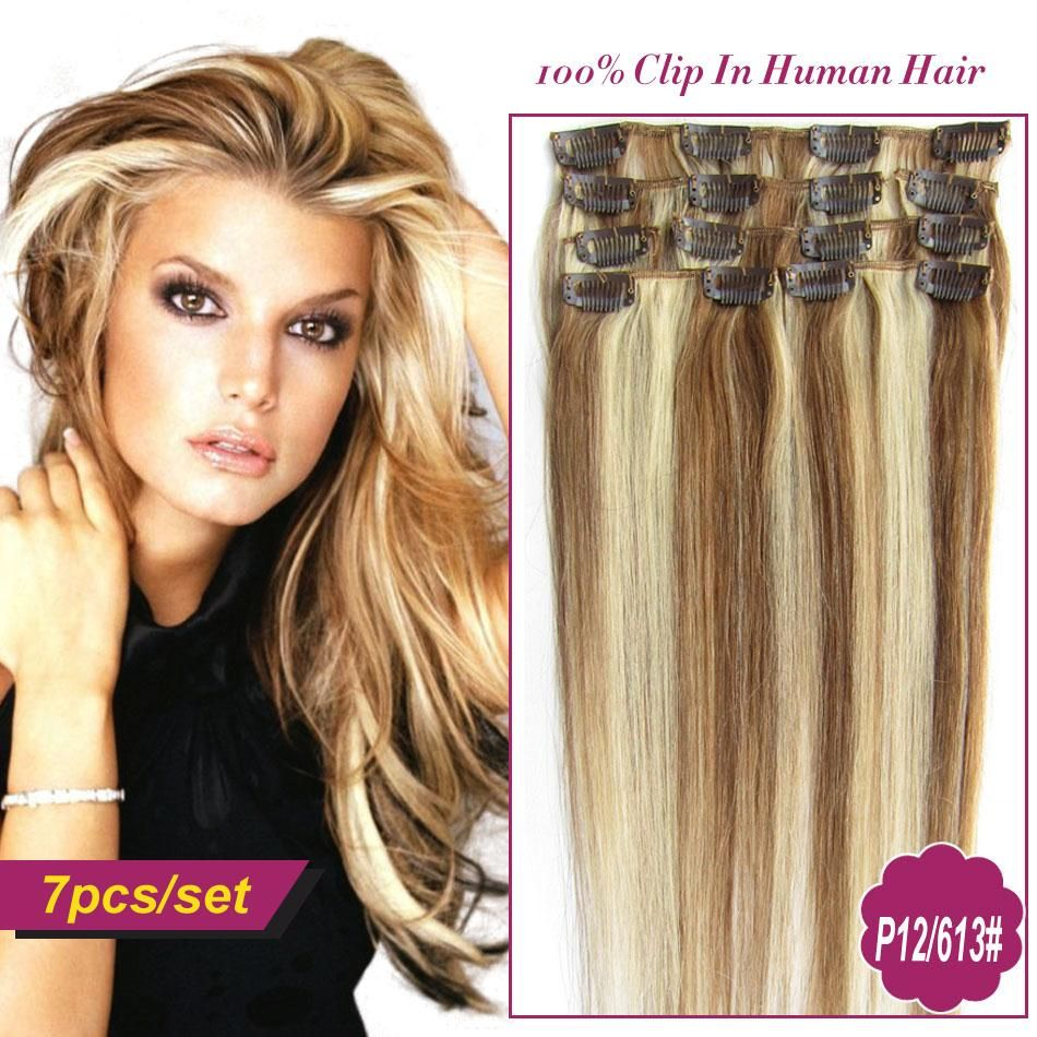 Piano Color 12613 Clip In Human Remy Hair Extensions Brazilian