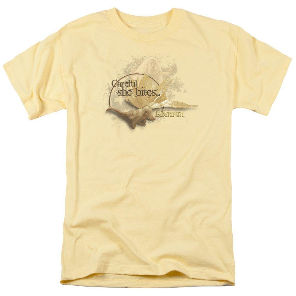 Labyrinth/She Bites Short Sleeve Adult T-Shirt 18/1 in Banana