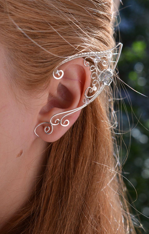 3f548594bdc71 Elf Ears Ear Cuffs - Elven Ear Cuff - Boho Jewelry Bohemian Floral ...