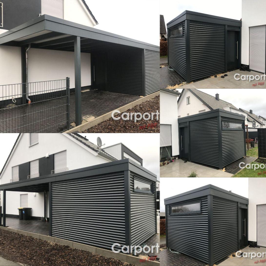 Carport Bauhaus Mit Abstellraum Und Die Verkleidung Mit Aluwelle Carport Garagenbau Carport Modern