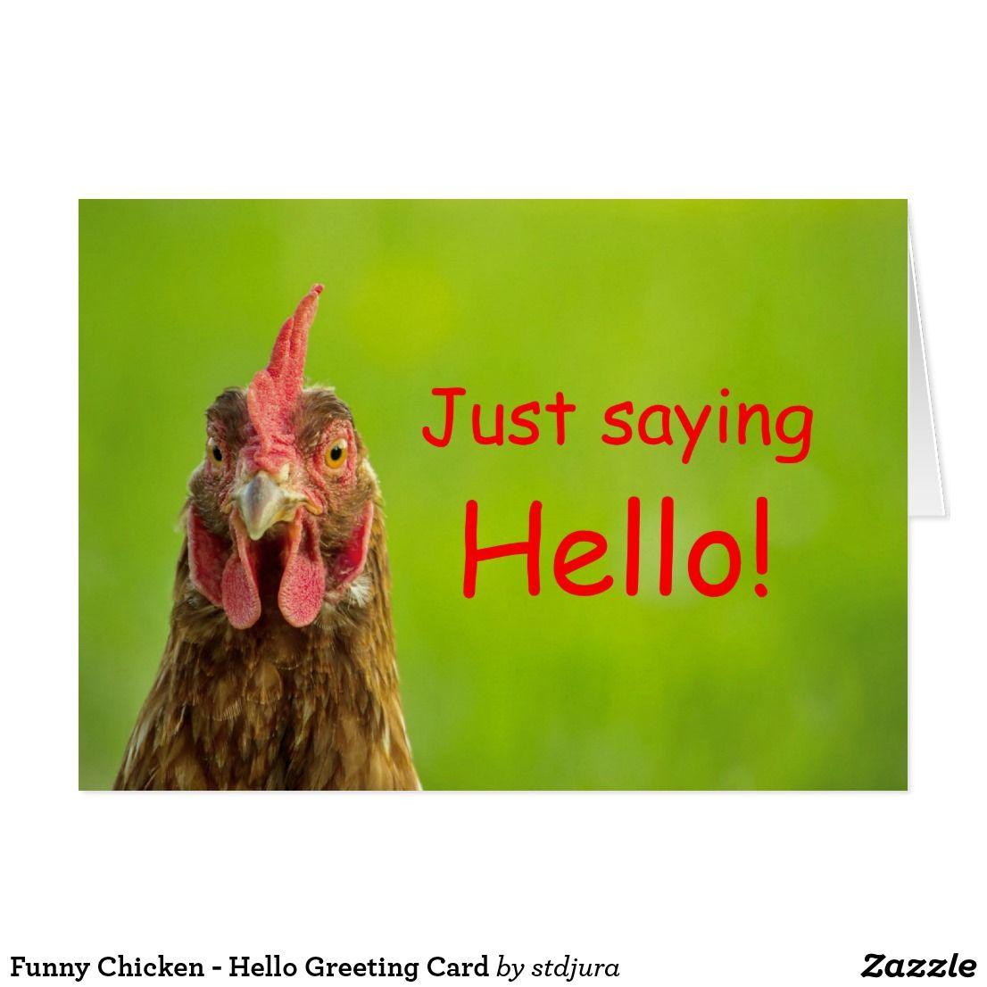 Funny Chicken Hello Greeting Card Zazzle Com Hello Greeting Chicken Humor Greeting Cards