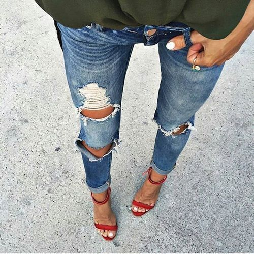 40 Spring Outfits To Copy Right Now | Single strap heels Red sandals and Sandals