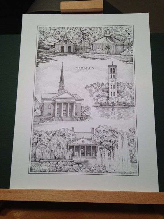 c82c17354c313 Furman University 12x16 Print (signed and numbered limited edition ...