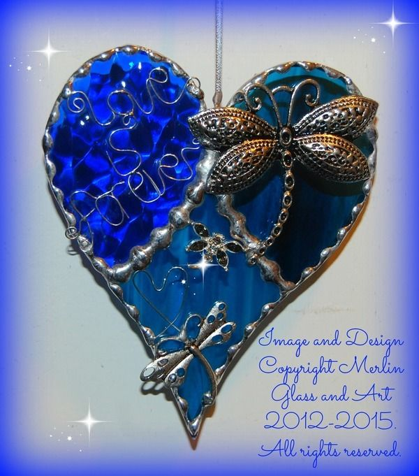 Image of Blue 'Love is forever' Dragonfly heart