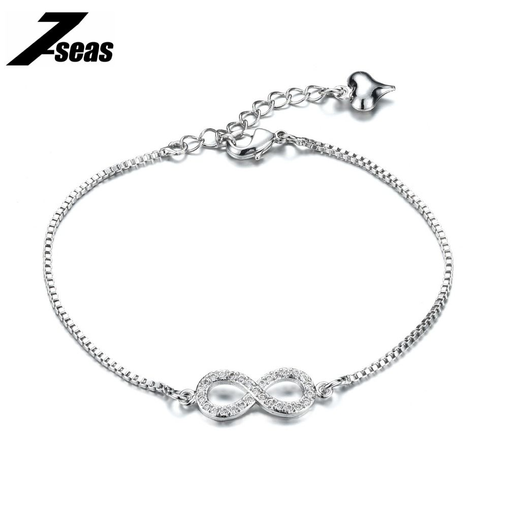 Seas fashion presonality infinity bracele white gold color chain