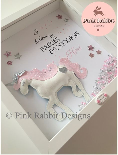 A puffy glitter unicorn really makes this personalised frame stand ...
