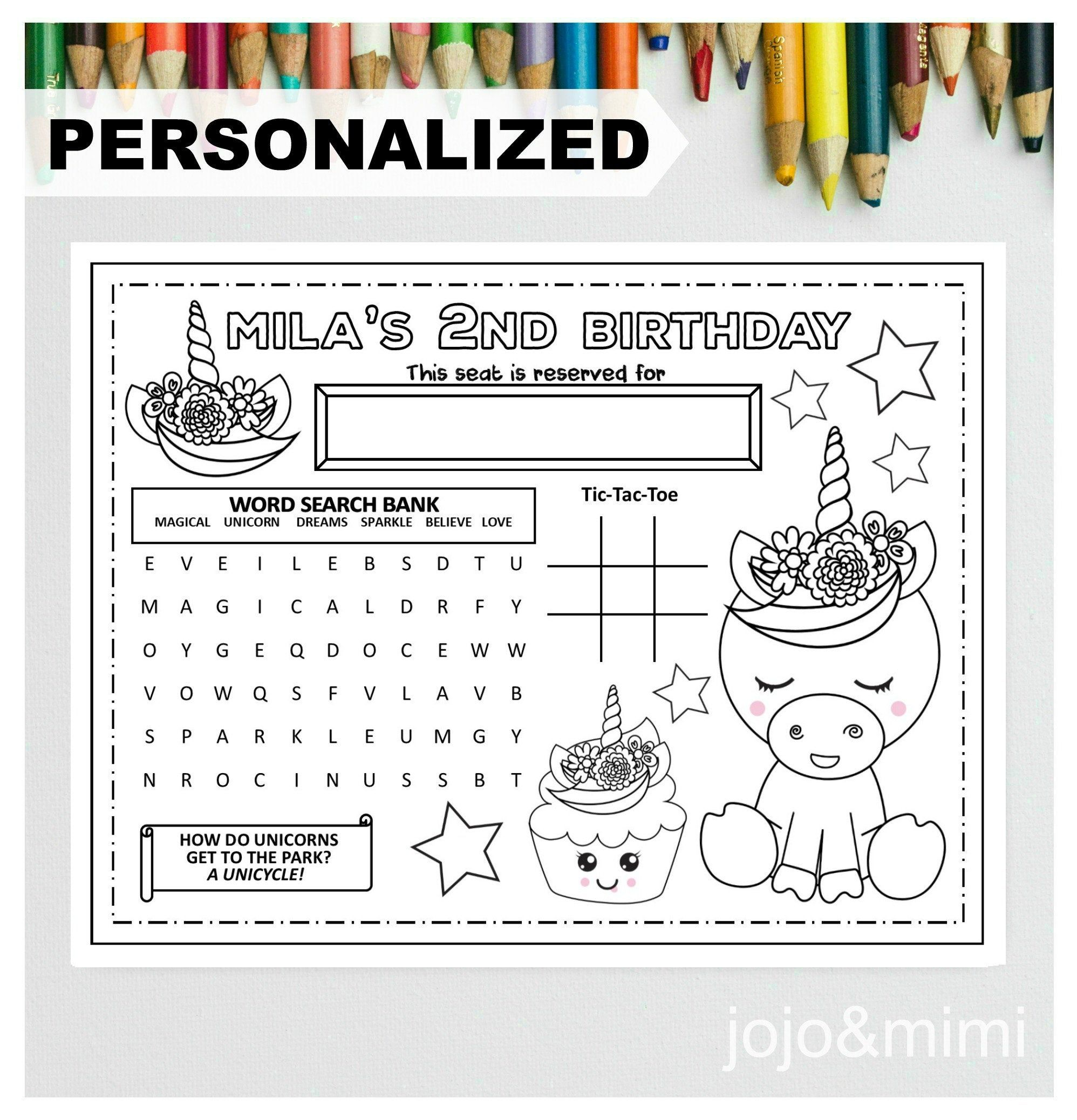 PERSONALIZED UNICORN Happy Birthday Printable Placemat ...