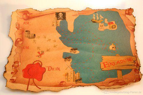 schatzkarte als einladung | kindergeburtstag-planen | pinnwand, Einladung