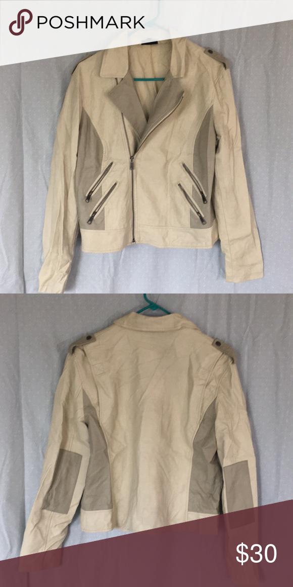 cec689e7cf8f Apt 9 Faux Leather Moto Jacket Cream white and gray accent Faux leather  women s Moto jacket. Has four zipper pockets. Apt. 9 Jackets   Coats
