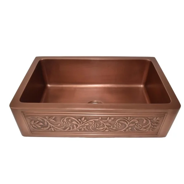 Versailles Farmhouse Pure Copper Single Bowl Kitchen Sink