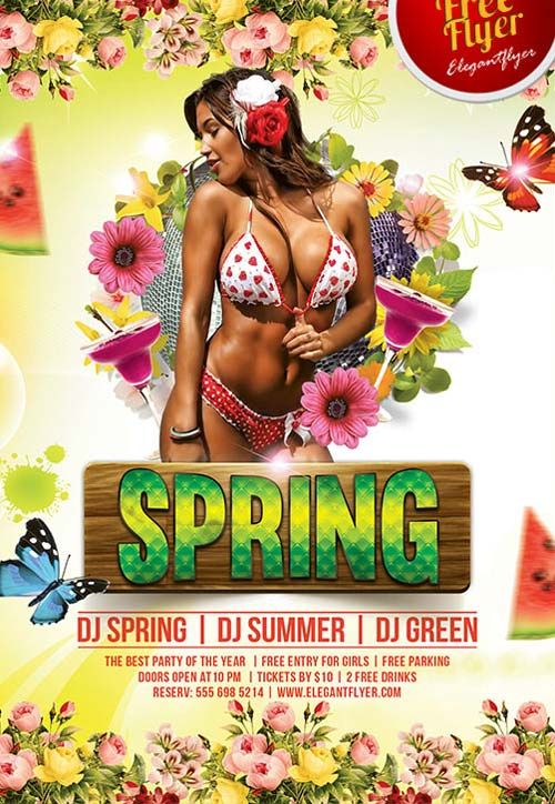 Spring Party Free PSD Flyer Template freepsdflyer – Spring Party Flyer