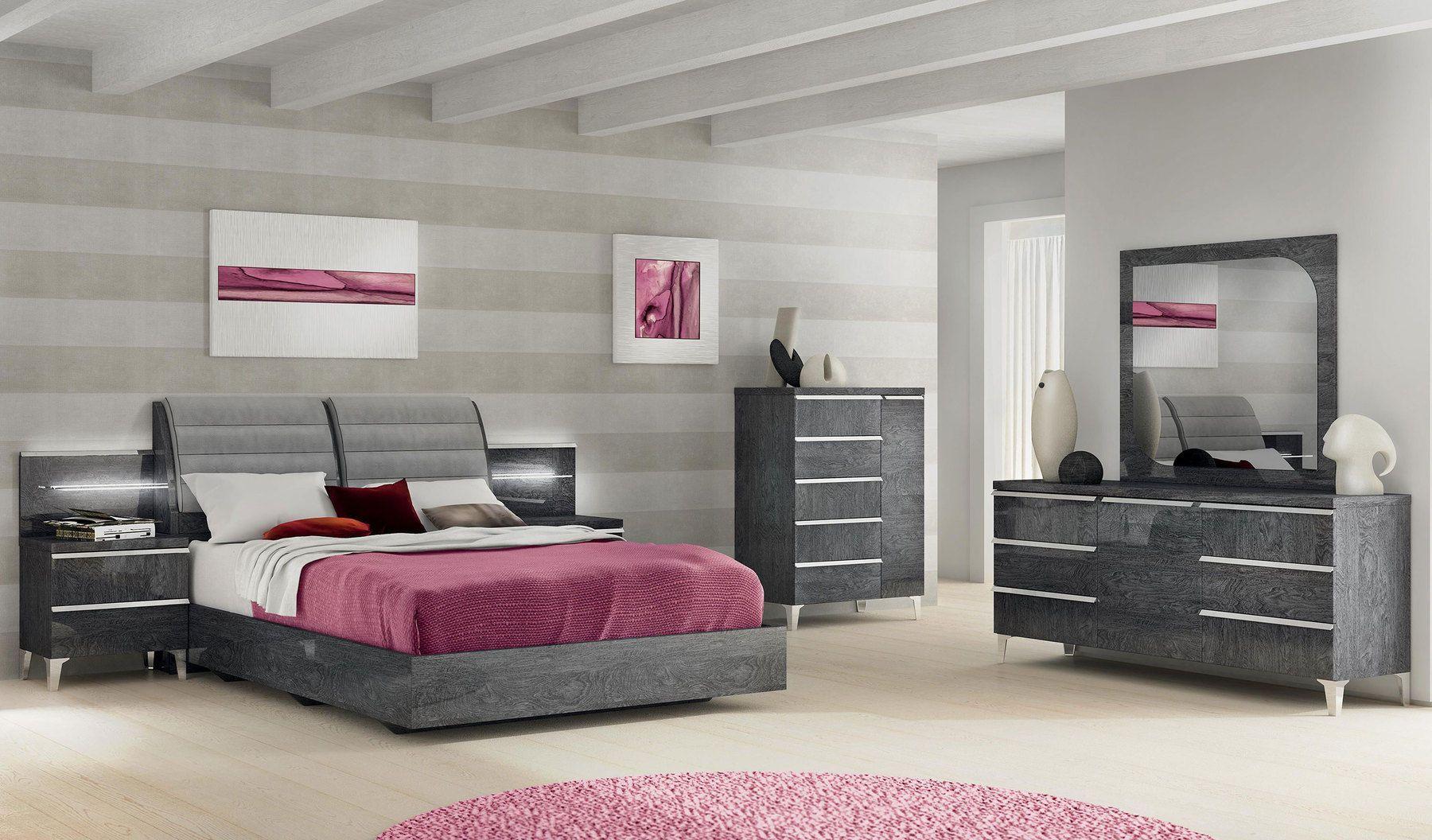 Esf Elite Grey Lack Modern Platform Bett Hergestellt In Italien Modern Bett Italien