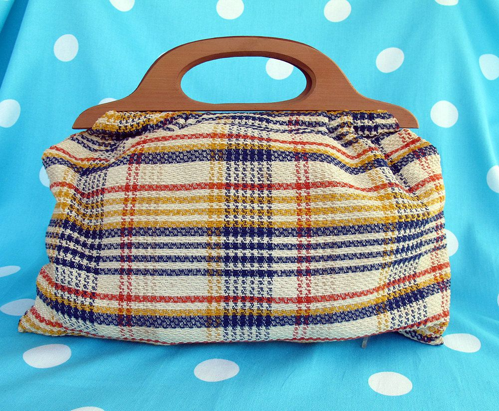70s Plaid Wood Handle Knitting Bag Knitted Bags Bag Pattern Purses
