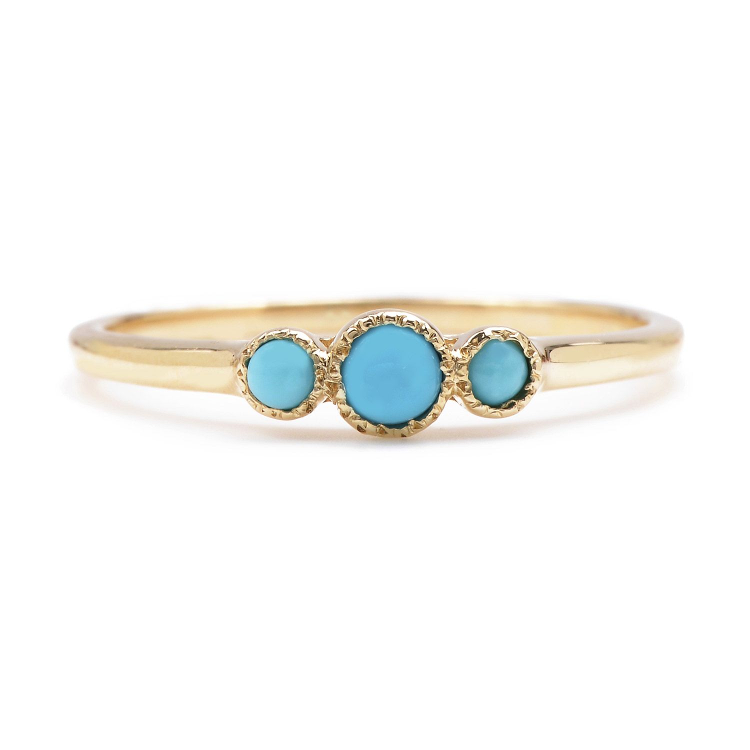 Turquoise Trinity Ring | Our wee trinity ring featuring 2mm and 3mm turquoise cabochons. Simple and sweet. | Handmade in NYC
