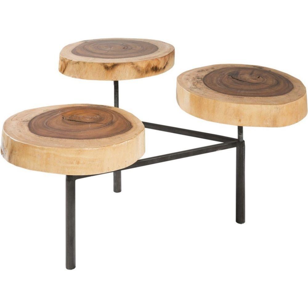 Ink Ivy Arcadia Naturale Coffee Table W Organic Tree Ring Tops On Graphite Metal Base Dynamichome Boho Wood Coffeetable Livingroom