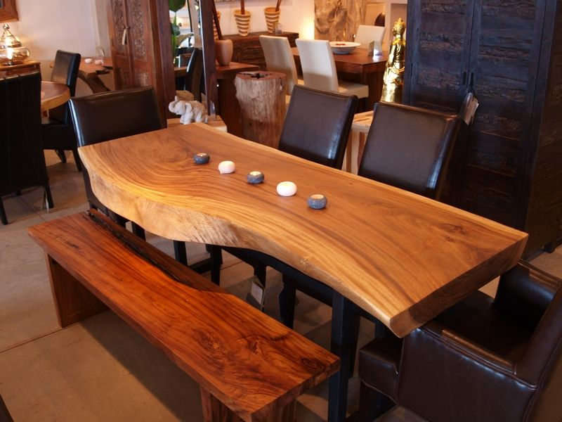 Dining Table In Suar Wood With Metal Legs Idea For Dining Room