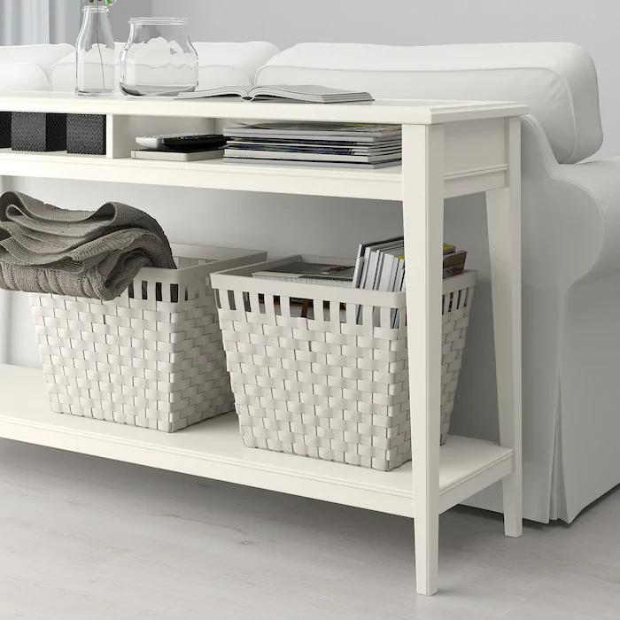 Liatorp Ablagetisch Weiß Glas 133x37 Cm Ikea Deutschland Console Table Storage Spaces - White Console Table With Storage Ikea