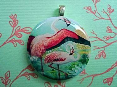 * Flamingo Tanz *  Holz Anhänger