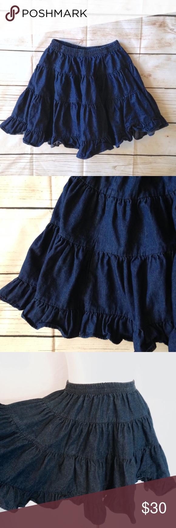 69b78844f Vintage Ruffled Denim Circle Skirt Sz M Absolutely adorable! True vintage  from the 90's. Dark denim tiered ruffle mini skirt. Elastic waistband.