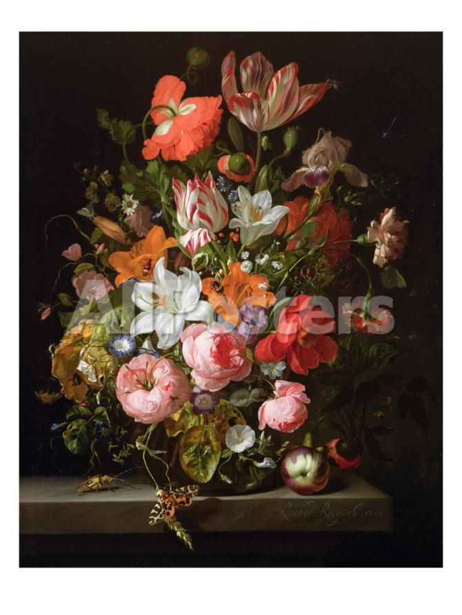 Still Life Of Roses Lilies Tulips And Other Flowers In A Glass Vase With A Brindled Beauty Giclee Print By Rachel Ruysch Floral Painting Flower Painting Flower Art