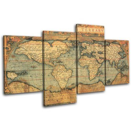 Bold bloc design old world atlas maps 120x68cm 4 panel offset buy bold bloc design old world atlas maps 4 panel offset cascade large xl canvas art print box framed picture wall hanging hand made in the uk framed gumiabroncs Gallery