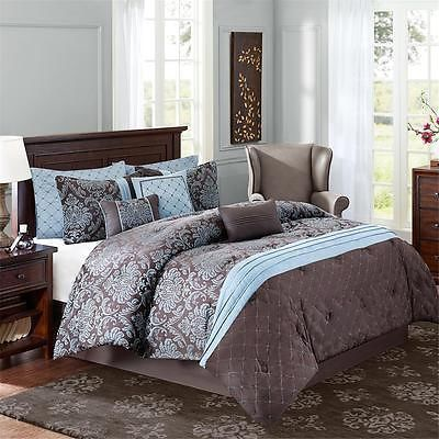 Blue And Brown Bedroom Set new deluxe brown blue black silver damask jacquard queen comforter
