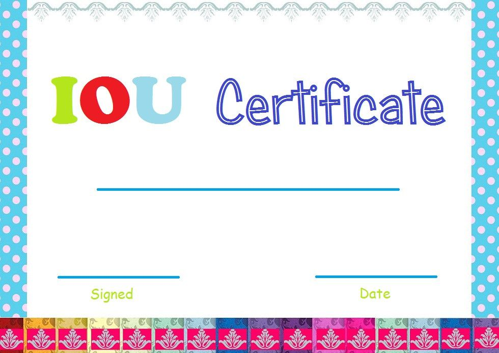 Free Printable Iou Template Fresh Select And Print Iou Certificates And Cards Fresh Designs Templates Printable Free Certificate Templates Printable Chart