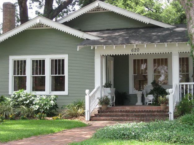 Green White House Paint Exterior Bungalow Exterior Cottage