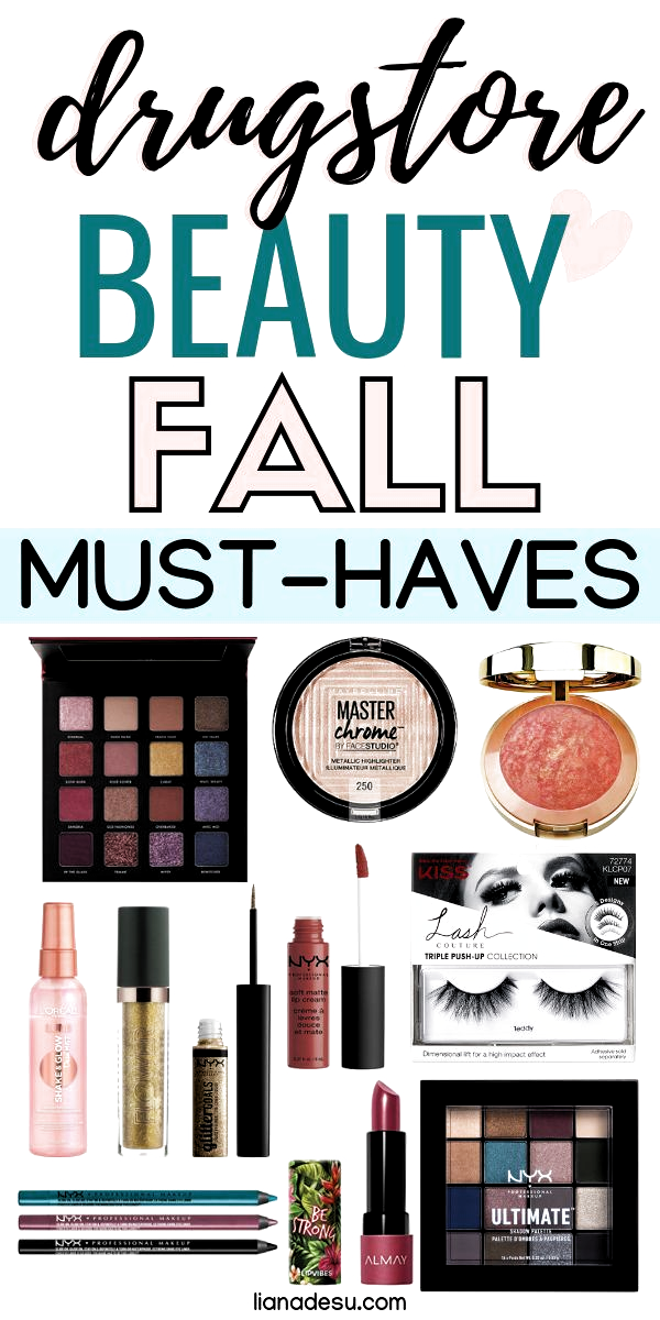 Create your perfect fall/autumn makeup look with these drugstore beauty fall/autumn essentials! All of the must-have drugstore makeup and skincare products you need this fall to create a glam, smokey, sultry look that's perfect for fall! #drugstore #makeup #skincare #beauty #fall #autumn #lianadesu