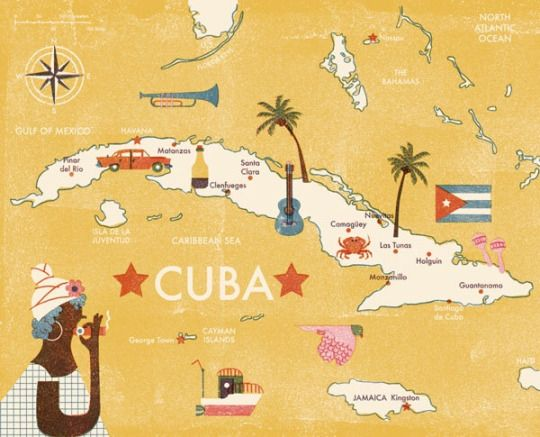 Barbara Dziadosz Illustration Map Of Cuba Illustrated Map Cuba