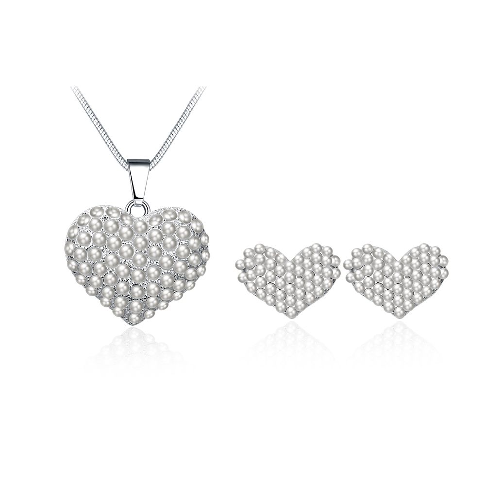 Aks new fashion white gold color simulated heart necklace