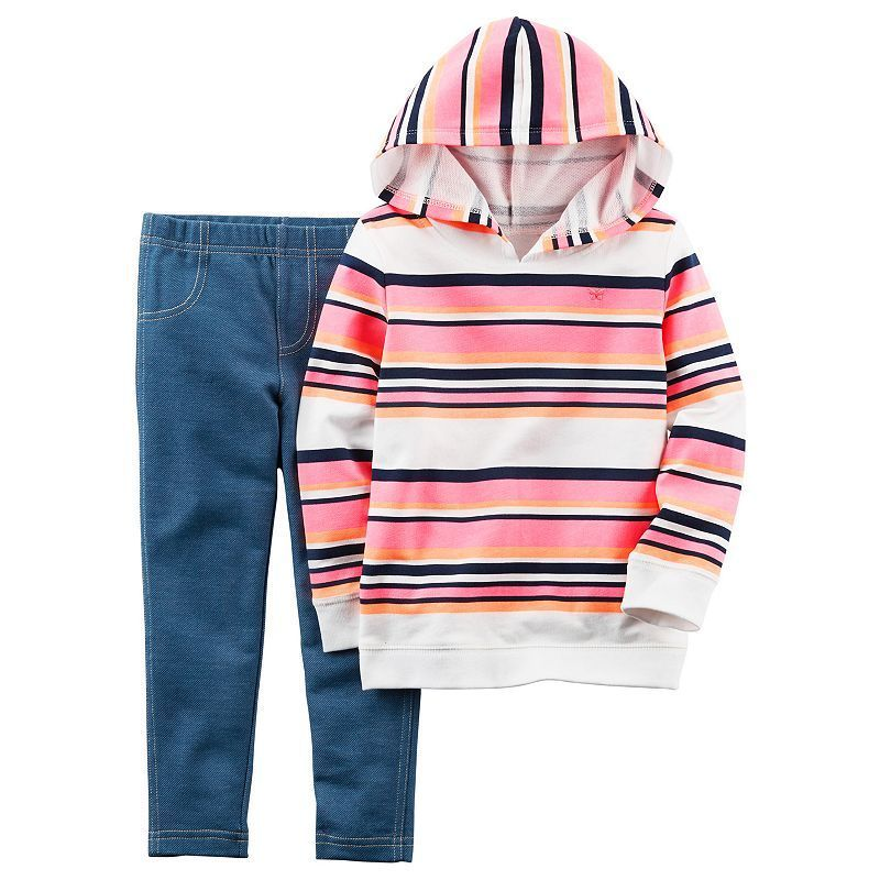 468e70545 Baby Girl Carter's Striped Hoodie & Jeggings Set, Size: 12 Months, Ovrfl Oth