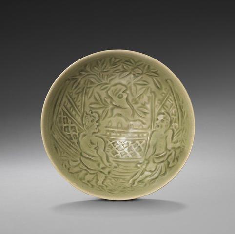 Shallow Porcelain Carved Bowl
