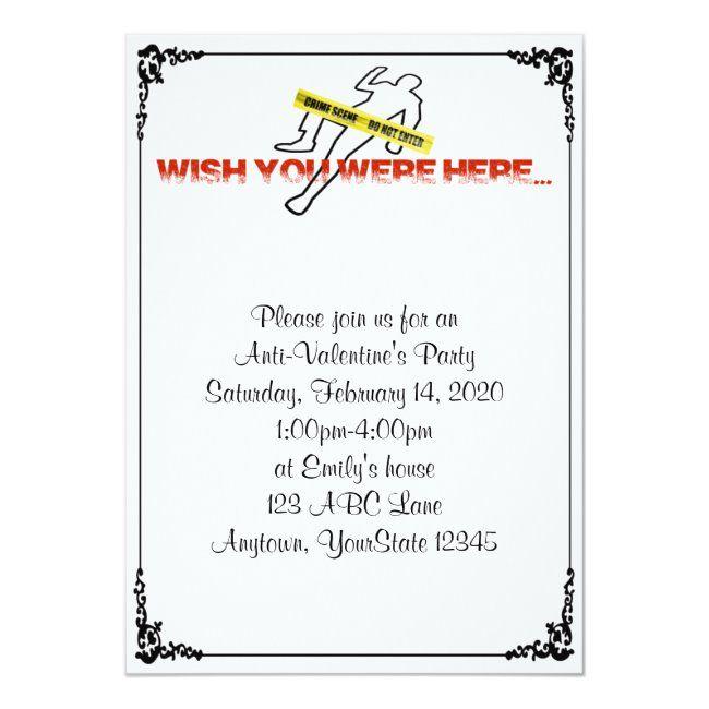 Wish You Were Here Anti-Valentine Party Invitation