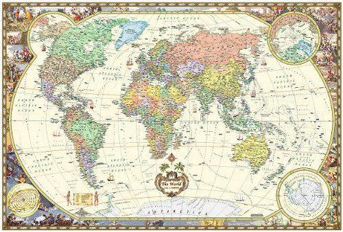 antique style world wall map wall map laminated illustrated world map map by akros httpwwwamazoncomdp9871663005ref