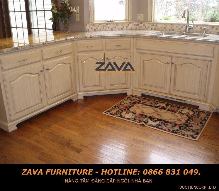 Tủ bếp gỗ sồi sơn trắng cổ điển   Painting kitchen ...