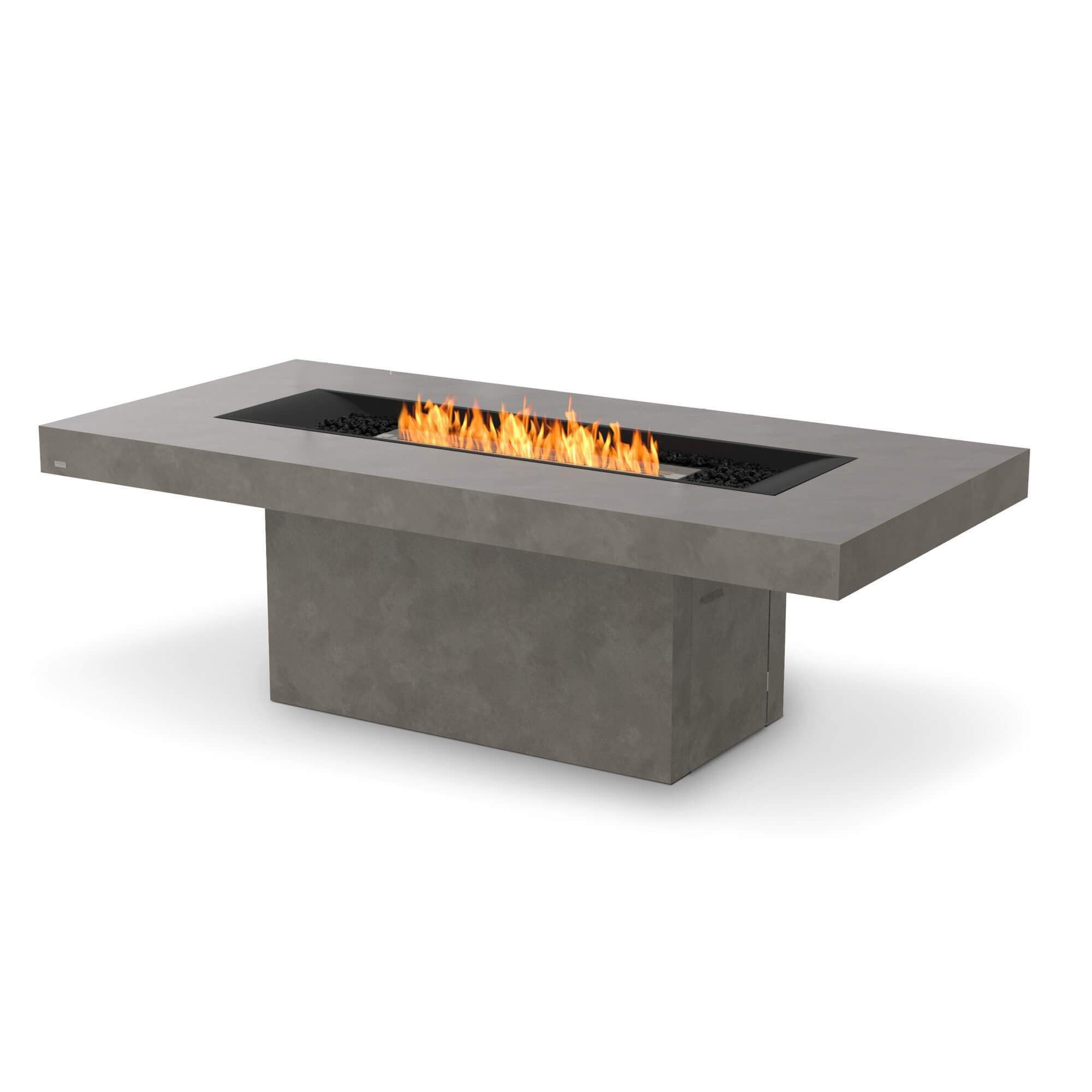EcoSmart Fire Gin 90 Dining Bioethanol Fire Pit Table - Indoor / Natural / Stainless Steel