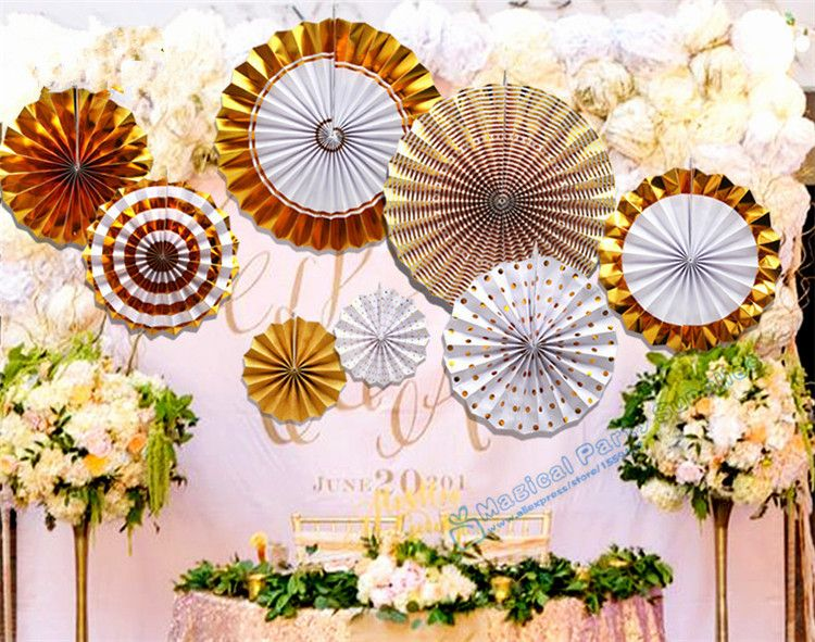 1 set 8pcs foil gold pinwheel backdrop paper rosette wedding giant cheap decorative decorative buy quality decoration baby shower directly from china decorations showers suppliers 1 set foil gold pinwheel backdrop paper mightylinksfo