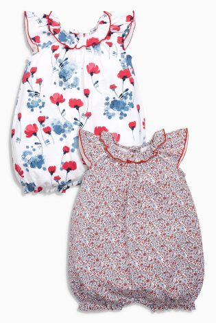 35b62ac318d Buy Red Ecru Floral Romper Two Pack (0mths-2yrs) from the Next UK online  shop