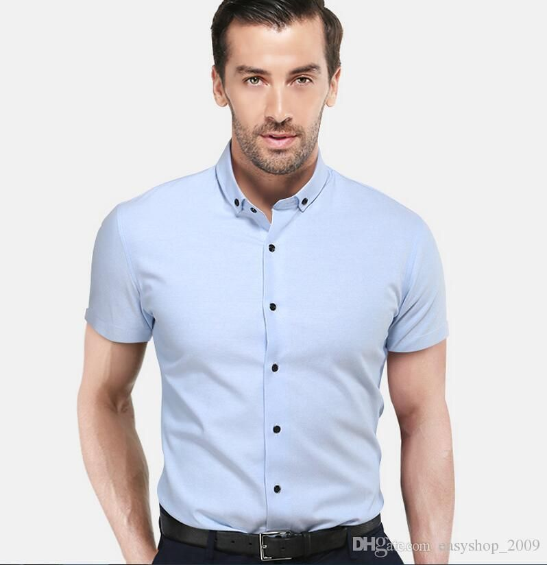 Classic MenS Shirts With Short Sleeves Elegant Fashion Of Pure White Wedding The Groom Shirt High