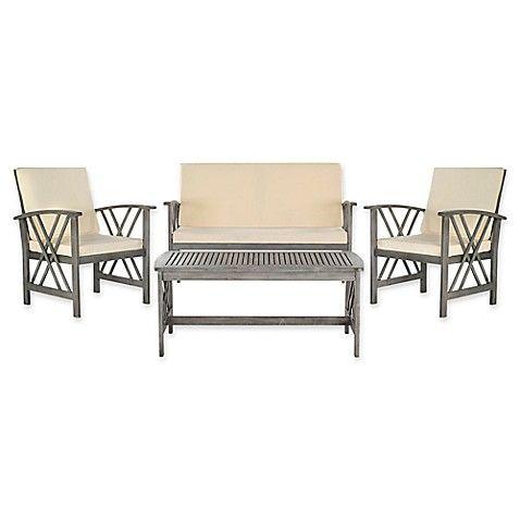 Safavieh Fontana 4-Piece Patio Furniture Set in Grey Wash ... on Safavieh Fontana Patio Set id=43096