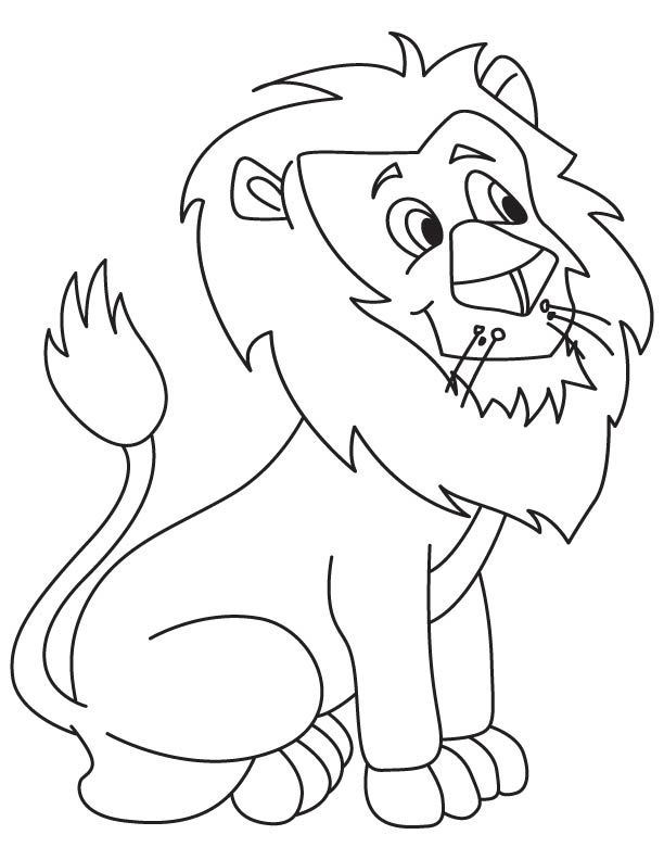 Cute Lion Cartoon Coloring Page