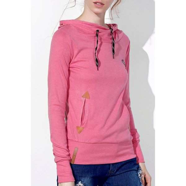 Stylish Hooded Long Sleeve Embroidered Pocket Design Women's Hoodie — 13.13 € Size: XL Color: PINK