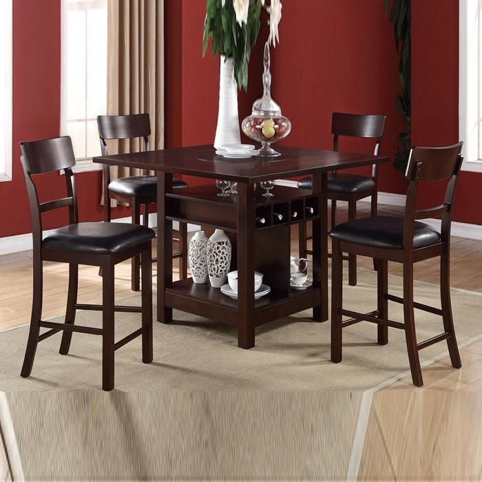 5PC Modern Rosy Espresso Lazy Susan Wine Storage Counter Height Dining Table Set