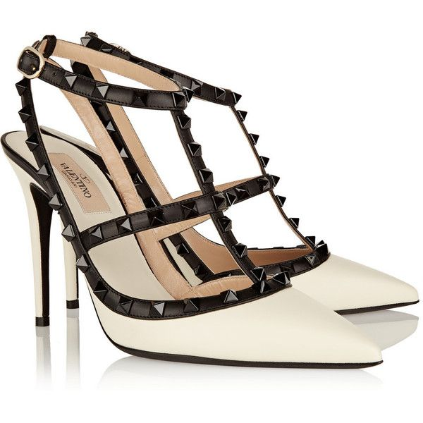 Valentino Rockstud leather pumps ($840) ❤ liked on Polyvore featuring shoes, pumps, heels, valentino, leather shoes, studded shoes, strappy pumps, pointed toe pumps and pointed toe high heel pumps